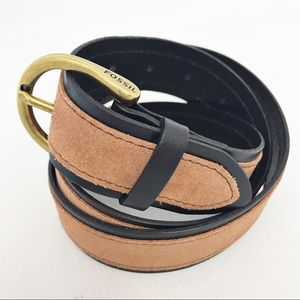New! FOSSIL | ColorBlock Suede Leather Belt M